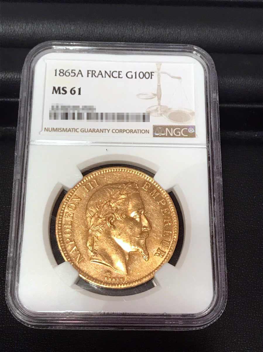 1865年 100フラン金貨 MS61の画像