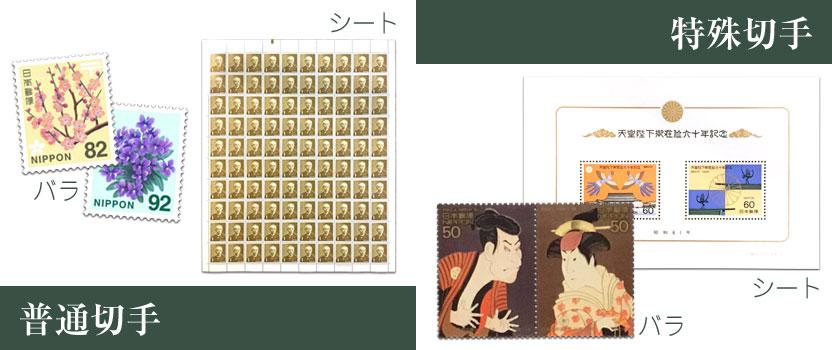 切手にはバラ切手とシートがあります。