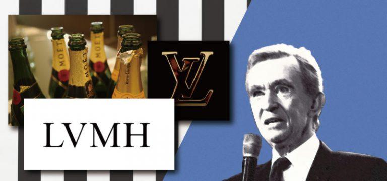 モエ、ルイヴィトンのロゴの画像の下にLVMHのロゴがあり、その右横にベルナール・アルノーの写真があしらわれたイメージ画像